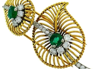 Monture CARTIER Emerald Diamond Gold BROOCH PIN CLIP