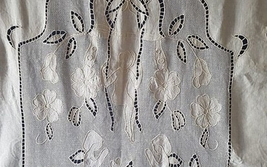 Museum curtain made of 100% pure linen with cutwork embroidery and Rhodes stitch - all handmade - 205 x 300 cm
