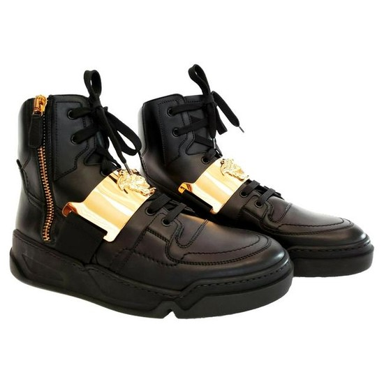 New VERSACE BLACK LEATHER HIGH TOP SNEAKERS for MEN