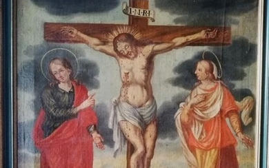 Oil painting on canvas Christ Crucified with Madonna and Mary Magdalene cm85x79.5 - canvas - First half 18th century