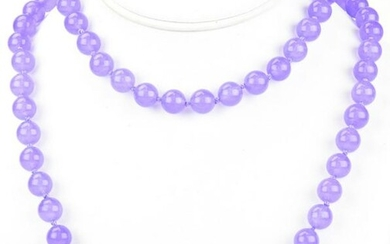 Opera Length Hand Knotted Lavender Jade Necklace
