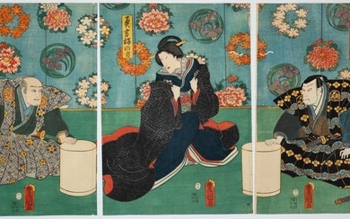"Original woodblock print triptych - Washi paper - Kabuki - Utagawa Kunisada (1786-1865) - Scene from the kabuki play ""Datemoyō Somete Kisaragi"" 晴模様染衣更着 - Japan - 1858 (Ansei 5), 2nd month"