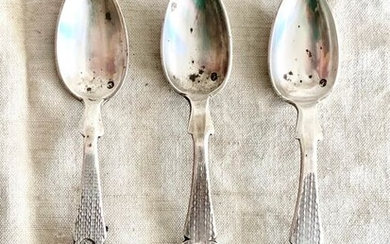 Ottoman Empire - Museum quality antique spoons - Tughra - Hand made(3) - .800 silver - Turkish artist- Turkey - Late 19th century