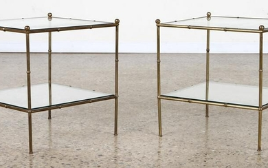 PAIR FAUX BAMBOO BRONZE & GLASS END TABLES C 1960