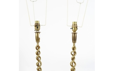 PAIR OF EDWARDIAN BRASS TABLE LAMPS each with an entwined sp...