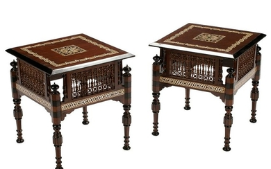 PAIR OF MOORISH STYLE INLAID & CARVED TABLES