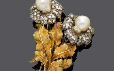 PEARL AND DIAMOND FLOWER BROOCH, probably BY BUCCELLATI, ca. 1960.