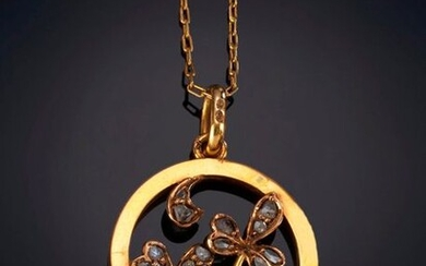 PENDANT IN THE FORM OF A CIRCLE WITH PLANT DECORATION WITH ANTIQUE CUT DIAMONDS CLOVERS. Frame in 18k yellow gold. Price: 150,00 Euros. (24.958 Ptas.)