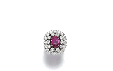 PINK SAPPHIRE AND DIAMOND RING, 1970S
