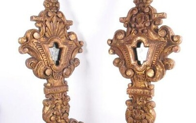Pair Carved Giltwood Altar Reliquaries, 19th C.