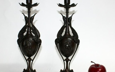 Pair French Gothic Revival bronze candleholders