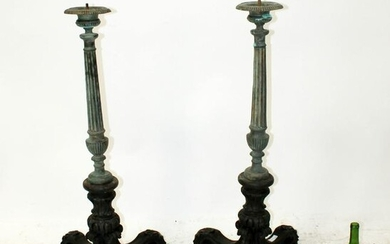 Pair Italian candle holders on quadriped base