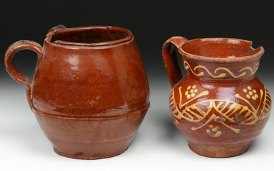 Pair of 19th C. Spanish Glazed Pottery Vessels