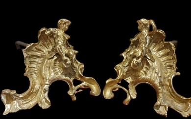 Pair of Chenets with Putti (2) - Neoclassical Style - Bronze (gilt), Iron (cast) - Late 19th century