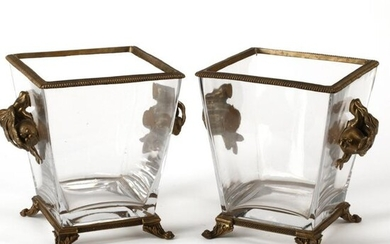 Pair of Dore Bronze Mounted Square Crystal Urns.