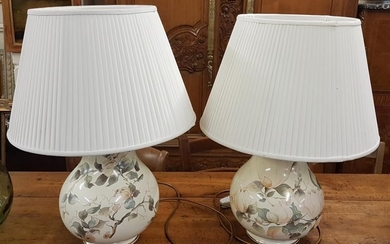Pair of French Floral Decorated Table Lamps with original sh...
