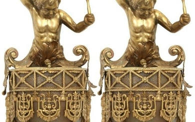 Pair of Gilt Bronze Figural Paneled Wall Sconces