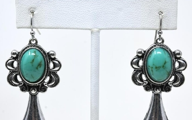 Pair of Native American Style Cabochon Earrings