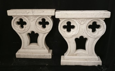 Pair of Venetian mullioned windows - H 75 cm - Biancone marble of Asiago - First half 20th century
