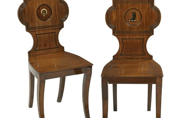 Pair of Victorian Hall Chairs with Painted Crests