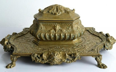 Parisian Gilt Bronze Double Inkwell Encrier