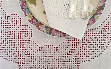 Pure linen tablecloth with 24 matching napkins, hand embroidered - 280 x 170 cm (25) - Linen - First half 20th century