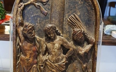 """Relief, tabernacle door - """"Flagellation of Christ"""" - Gilt, Wood - Late 15th century"""