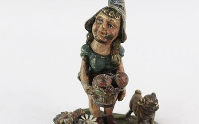 Sculpture, A Viennese cold painted bronze of a dwarf with dog - Bronze - Early 20th century