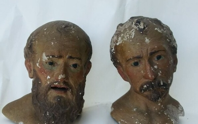 Sculpture, Two heads of saints (2) - Plaster - First half 18th century