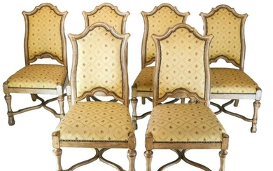 Set of Six Louis XVI-Style Upholstered Side Chairs