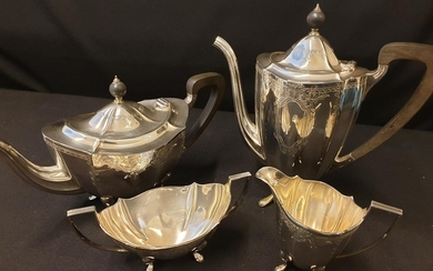 Silver 4 piece tea and coffee set consisting silver tea and ...
