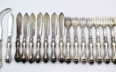 Silver. Fish cutlery for 8 persons.