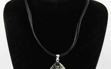 Silver Reversible Stone Triangle Pendant Necklace