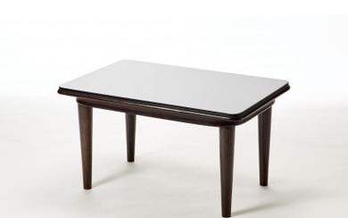 Solid wood coffee table with black opaline top. Italy, 1930s/1940s....