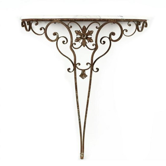 Spanish Style Iron and Marble Console Table