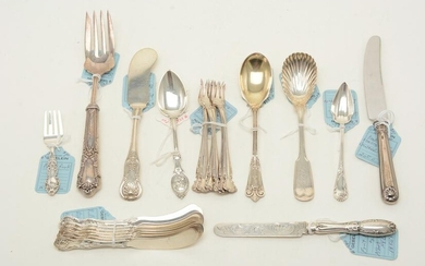 Sterling silver utensils and serving pieces. Includes
