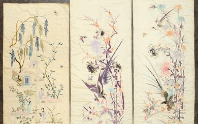 Suite of three embroidered folding screen leaves, China, circa 1900