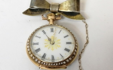 Swiss enamelled gold lever watch, keyless, with coloured gol...