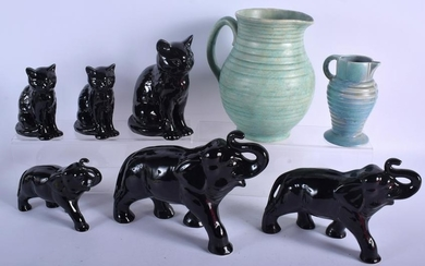 THREE SYLVAC POTTERY CAT FIGURINES, together with two