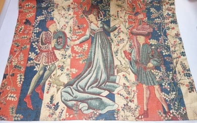 "Tapestry, ""The Nomad's Wall"" - 140 x 160 cm - Medieval - Wool - First half 20th century"
