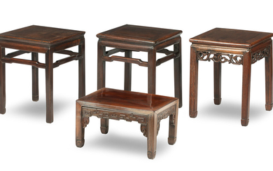 Three hongmu stands and one low table/stand