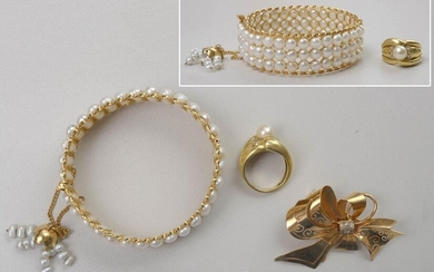 """Three jewels: A ring in 18 karat yellow gold set with a pearl and brilliant-cut diamonds for a total of +/-0.15 carat, a """"Knot"""" shaped brooch in 18 karat yellow gold set with rose-cut diamonds and a rigid bracelet in 18 karat yellow gold set with white..."""