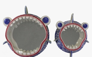 "Two [2] Unique Ceramic Figure ""Shark"" Mirrors, Signed"