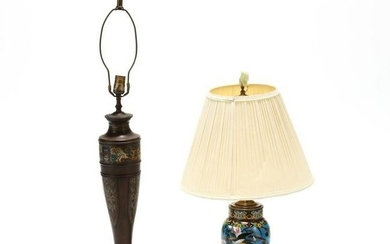 Two Vintage Asian Enameled Lamps