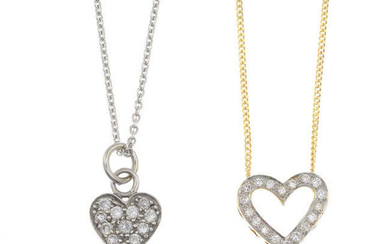 Two diamond heart pendants, each with 18ct gold chain.