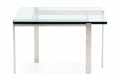 Unknown design: Square coffee table with frame of brushed steel and glass top. – Bruun...