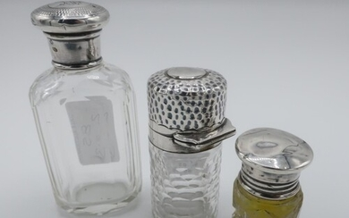 Victorian hallmarked silver screw top faceted glass scent bo...