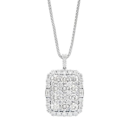 White Gold and Diamond Pendant with Chain Necklace