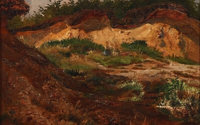 Wilhelm Zillen: Children playing in a gravel pit. Unsigned. Dated d. 11. Aug. 54. Oil on paper laid on cardboard. 27×36 cm.