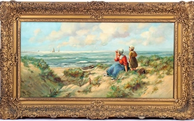 Woman and child in the dunes, overlooking the sea